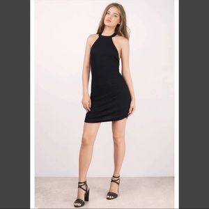 Black halter dress fitted dress